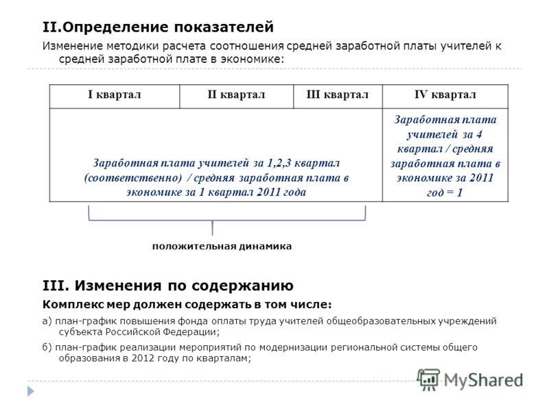 II.Определение показателей Изменение методики расчета соотношения средней заработной платы учителей к средней заработной плате в экономике: положительная динамика III. Изменения по содержанию Комплекс мер должен содержать в том числе: а) план-график