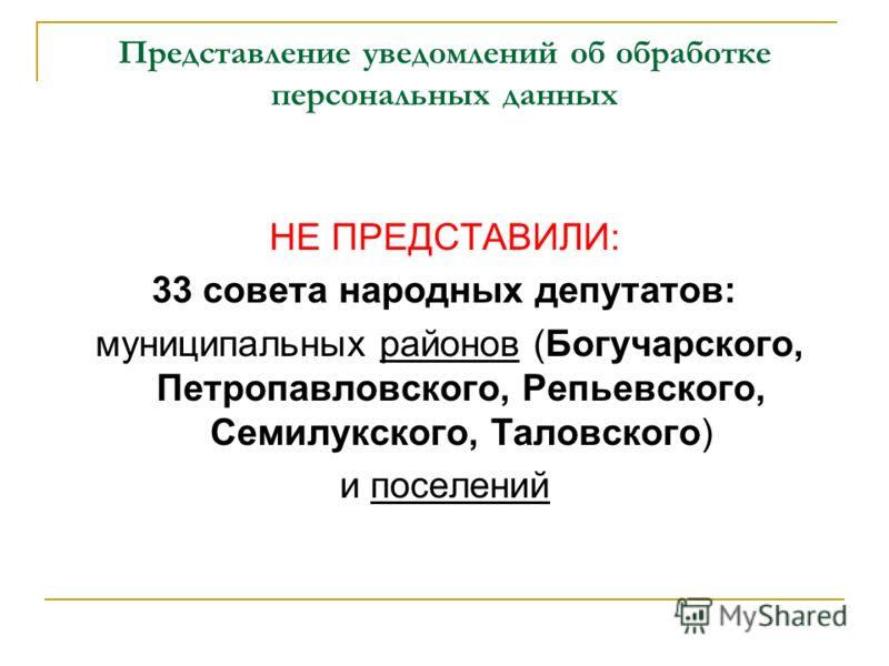 НЕ ПРЕДСТАВИЛИ: 33 совета народных депутатов: муниципальных районов (Богучарского, Петропавловского, Репьевского, Семилукского, Таловского) и поселений