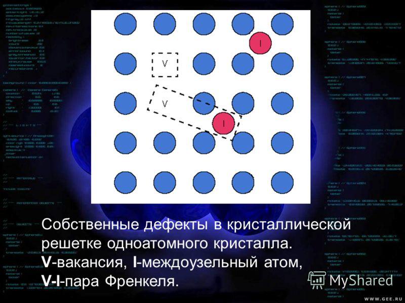 Собственные дефекты в кристаллической решетке одноатомного кристалла. V-вакансия, I-междоузельный атом, V-I-пара Френкеля.