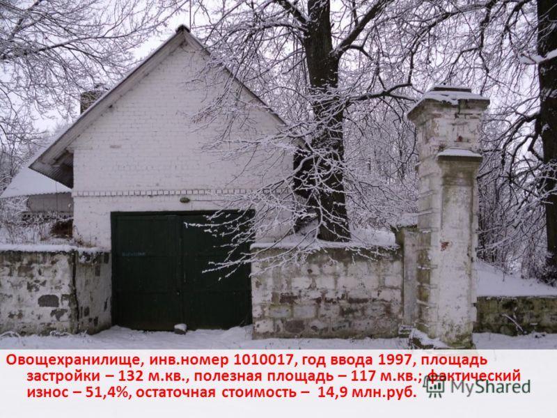 Овощехранилище, инв.номер 1010017, год ввода 1997, площадь застройки – 132 м.кв., полезная площадь – 117 м.кв.; фактический износ – 51,4%, остаточная стоимость – 14,9 млн.руб.