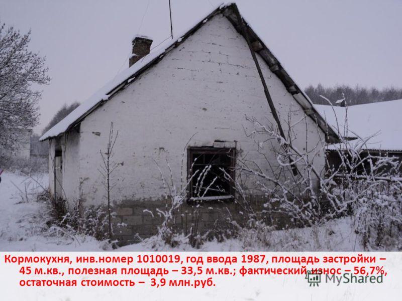 Кормокухня, инв.номер 1010019, год ввода 1987, площадь застройки – 45 м.кв., полезная площадь – 33,5 м.кв.; фактический износ – 56,7%, остаточная стоимость – 3,9 млн.руб.