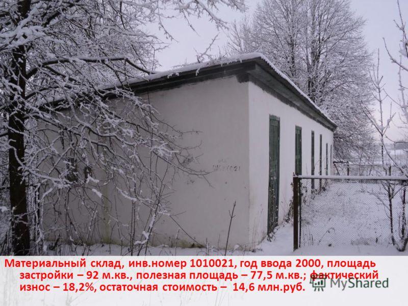 Материальный склад, инв.номер 1010021, год ввода 2000, площадь застройки – 92 м.кв., полезная площадь – 77,5 м.кв.; фактический износ – 18,2%, остаточная стоимость – 14,6 млн.руб.