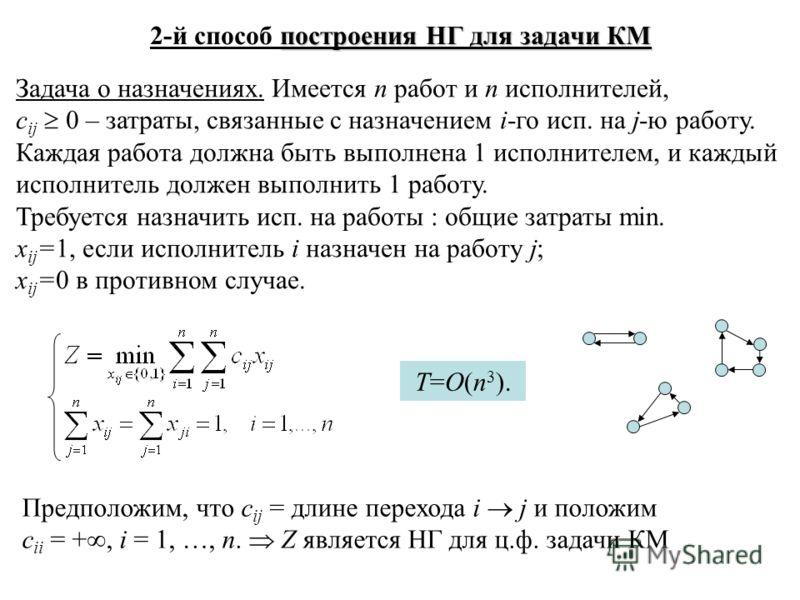построения НГ для задачи КМ 2-й способ построения НГ для задачи КМ Задача о назначениях. Имеется n работ и n исполнителей, c ij 0 – затраты, связанные с назначением i-го исп. на j-ю работу. Каждая работа должна быть выполнена 1 исполнителем, и каждый