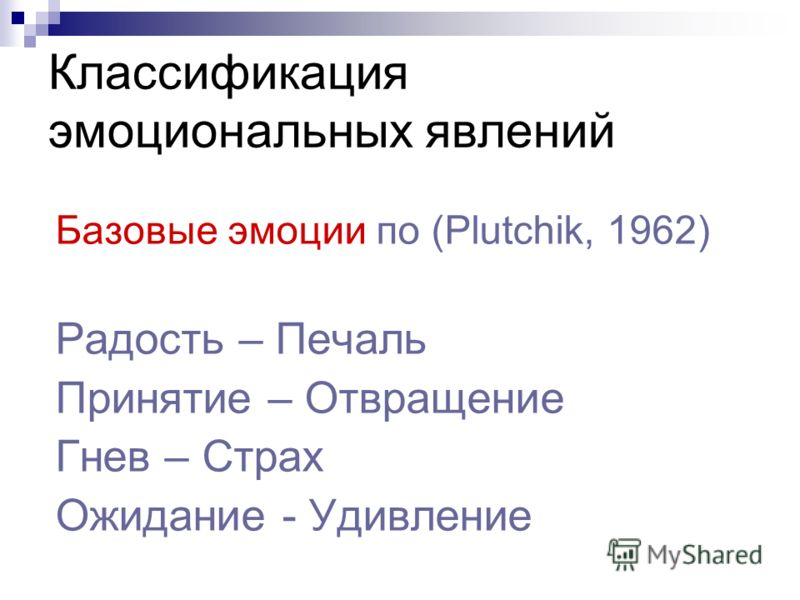 Классификация эмоциональных явлений Базовые эмоции по (Plutchik, 1962) Радость – Печаль Принятие – Отвращение Гнев – Страх Ожидание - Удивление