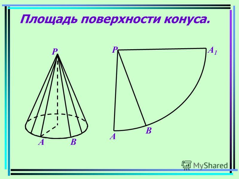 Площадь поверхности конуса. Р ВА Р А В А1А1