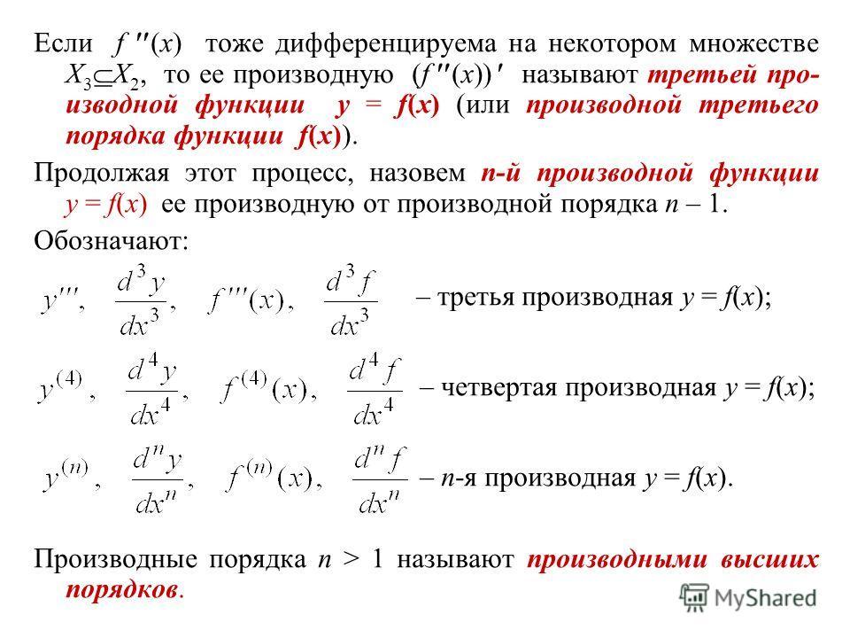 Если f (x) тоже дифференцируема на некотором множестве X 3 X 2, то ее производную (f (x)) называют третьей про- изводной функции y = f(x) (или производной третьего порядка функции f(x)). Продолжая этот процесс, назовем n-й производной функции y = f(x