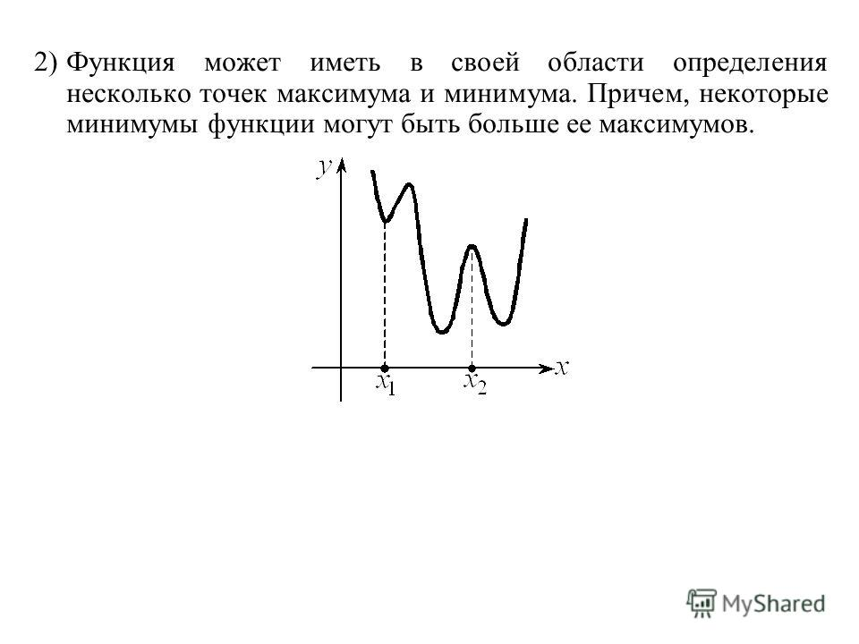 2)Функция может иметь в своей области определения несколько точек максимума и минимума. Причем, некоторые минимумы функции могут быть больше ее максимумов.