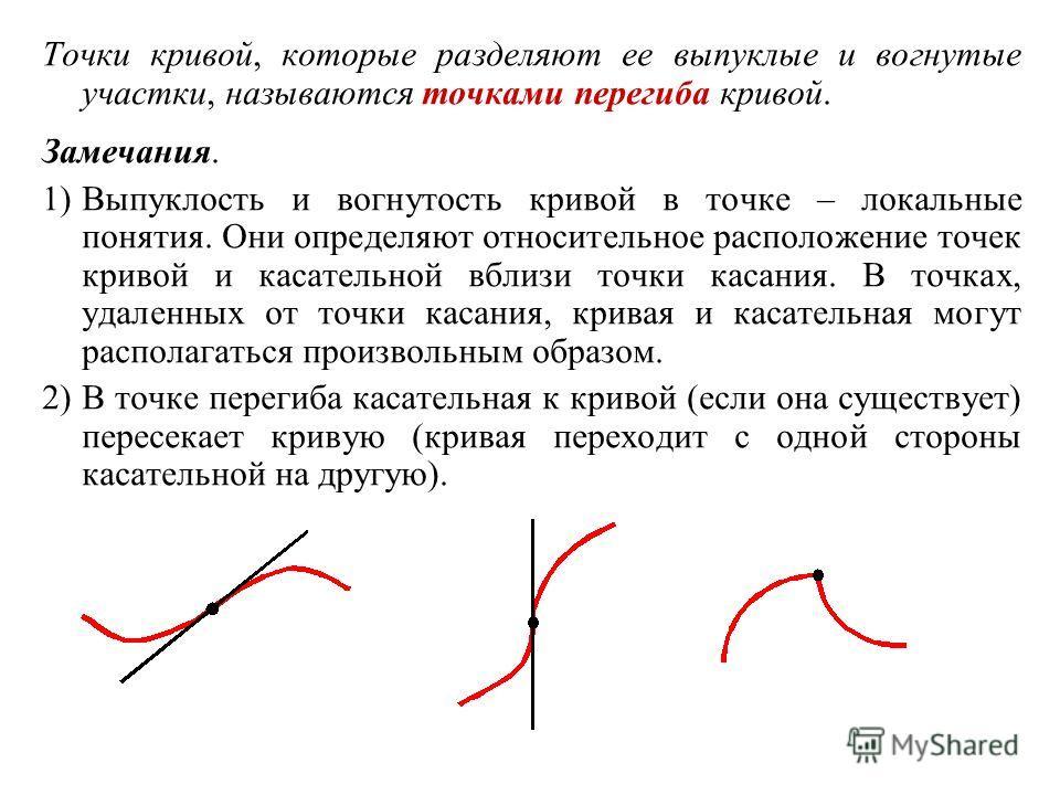 Точки кривой, которые разделяют ее выпуклые и вогнутые участки, называются точками перегиба кривой. Замечания. 1)Выпуклость и вогнутость кривой в точке – локальные понятия. Они определяют относительное расположение точек кривой и касательной вблизи т