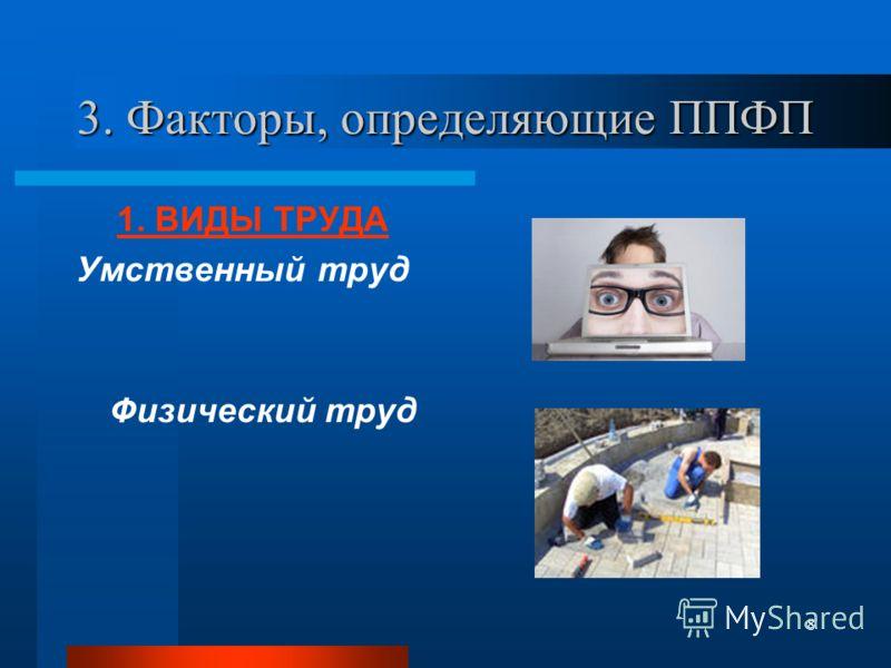 8 3. Факторы, определяющие ППФП 1. ВИДЫ ТРУДА Умственный труд Физический труд