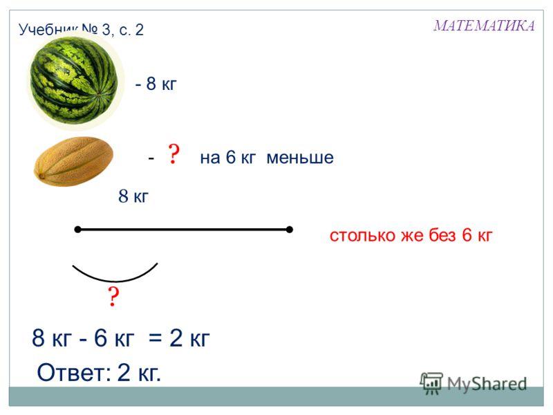 МАТЕМАТИКА Учебник 3, с. 2 - 6 кг8 кг= 2 кг - 8 кг - ? на 6 кг меньше ? 8 кг столько же без 6 кг ? Ответ: 2 кг.