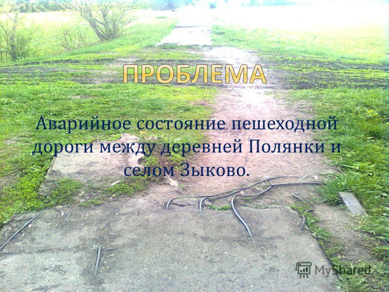 Аварийное состояние пешеходной дороги между деревней Полянки и селом Зыково.