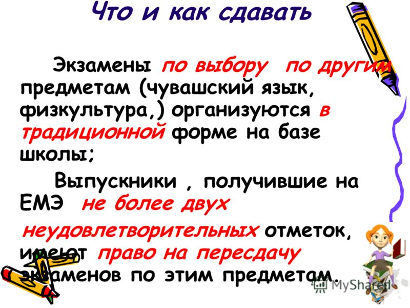 Экзамены по выбору по другим предметам (чувашский язык, физкультура,) организуются в традиционной форме на базе школы; Выпускники, получившие на ЕМЭ не более двух неудовлетворительных отметок, имеют право на пересдачу экзаменов по этим предметам.
