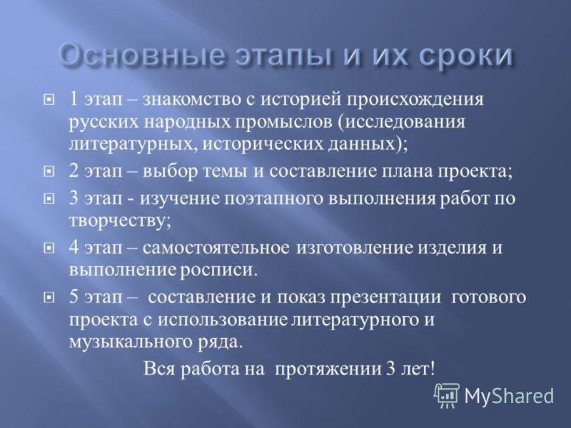 1 этап – знакомство с историей происхождения русских народных промыслов ( исследования литературных, исторических данных ); 2 этап – выбор темы и составление плана проекта ; 3 этап - изучение поэтапного выполнения работ по творчеству ; 4 этап – самос