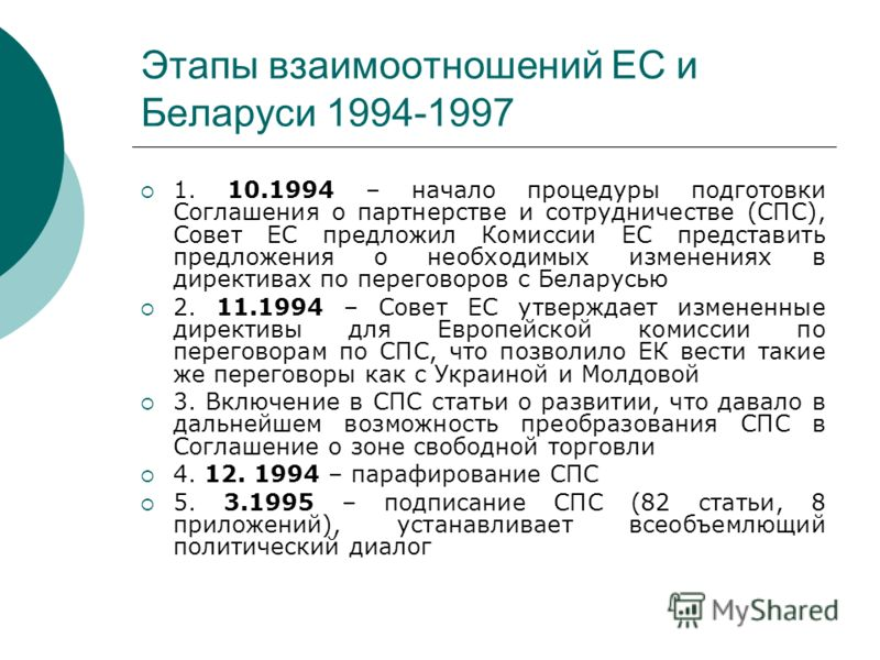 Этапы взаимоотношений ЕС и Беларуси 1994-1997 1. 10.1994 – начало процедуры подготовки Соглашения о партнерстве и сотрудничестве (СПС), Совет ЕС предложил Комиссии ЕС представить предложения о необходимых изменениях в директивах по переговоров с Бела