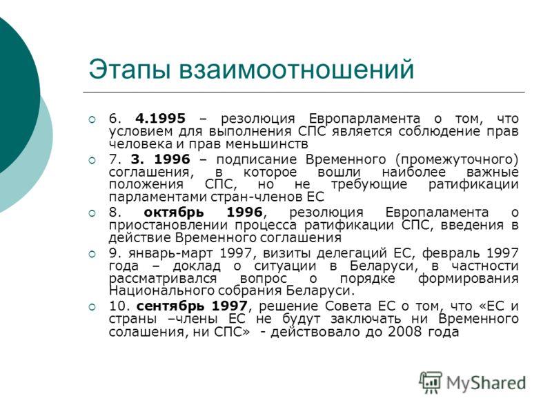 Этапы взаимоотношений 6. 4.1995 – резолюция Европарламента о том, что условием для выполнения СПС является соблюдение прав человека и прав меньшинств 7. 3. 1996 – подписание Временного (промежуточного) соглашения, в которое вошли наиболее важные поло