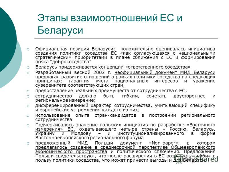 Этапы взаимоотношений ЕС и Беларуси Официальная позиция Беларуси: положительно оценивалась инициатива создания политики соседства ЕС «как согласующаяся с национальными стратегическим приоритетами в плане сближения с ЕС и формирования пояса добрососед