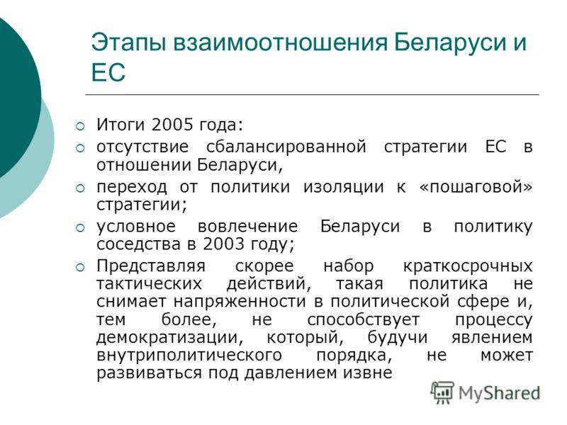Этапы взаимоотношения Беларуси и ЕС Итоги 2005 года: отсутствие сбалансированной стратегии ЕС в отношении Беларуси, переход от политики изоляции к «пошаговой» стратегии; условное вовлечение Беларуси в политику соседства в 2003 году; Представляя скоре