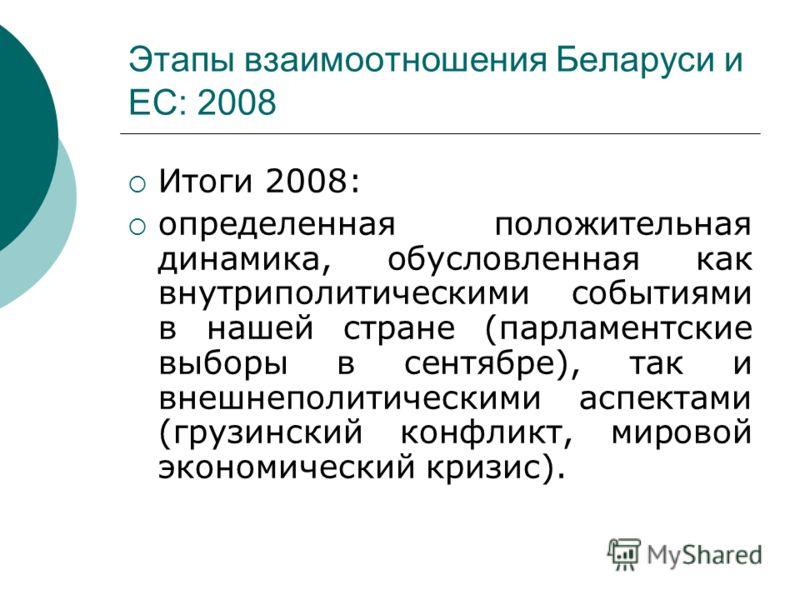 Этапы взаимоотношения Беларуси и ЕС: 2008 Итоги 2008: определенная положительная динамика, обусловленная как внутриполитическими событиями в нашей стране (парламентские выборы в сентябре), так и внешнеполитическими аспектами (грузинский конфликт, мир