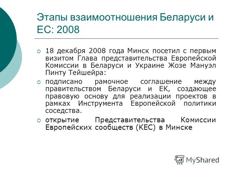 Этапы взаимоотношения Беларуси и ЕС: 2008 18 декабря 2008 года Минск посетил с первым визитом Глава представительства Европейской Комиссии в Беларуси и Украине Жозе Мануэл Пинту Тейшейра: подписано рамочное соглашение между правительством Беларуси и