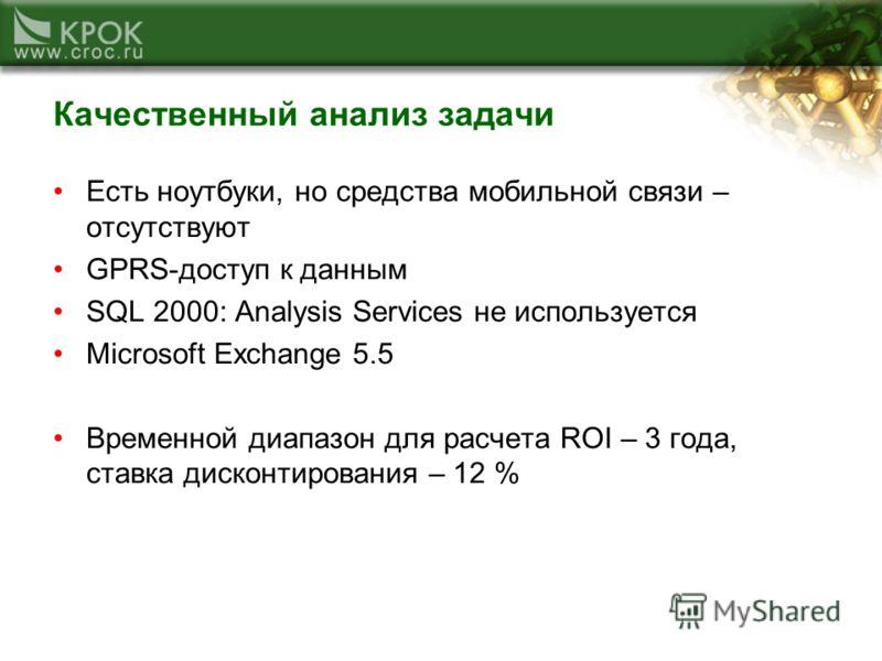 Качественный анализ задачи Есть ноутбуки, но средства мобильной связи – отсутствуют GPRS-доступ к данным SQL 2000: Analysis Services не используется Microsoft Exchange 5.5 Временной диапазон для расчета ROI – 3 года, ставка дисконтирования – 12 %