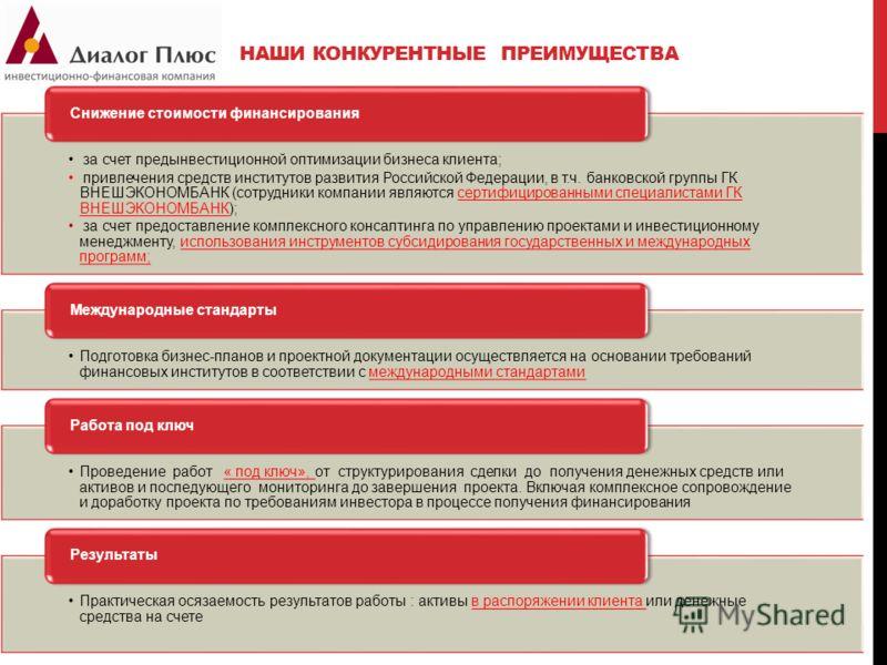 НАШИ КОНКУРЕНТНЫЕ ПРЕИМУЩЕСТВА за счет предынвестиционной оптимизации бизнеса клиента; привлечения средств институтов развития Российской Федерации, в т.ч. банковской группы ГК ВНЕШЭКОНОМБАНК (сотрудники компании являются сертифицированными специалис