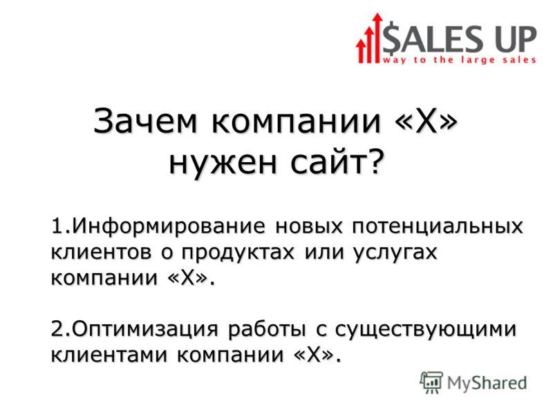 Зачем компании «Х» нужен сайт? 1.Информирование новых потенциальных клиентов о продуктах или услугах компании «Х». 2.Оптимизация работы с существующими клиентами компании «X».