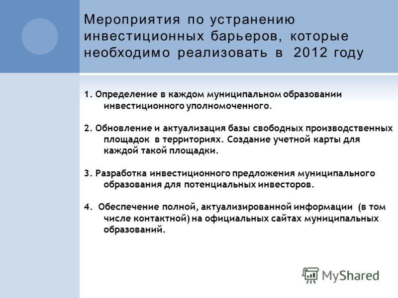 Мероприятия по устранению инвестиционных барьеров, которые необходимо реализовать в 2012 году 1. Определение в каждом муниципальном образовании инвестиционного уполномоченного. 2. Обновление и актуализация базы свободных производственных площадок в т