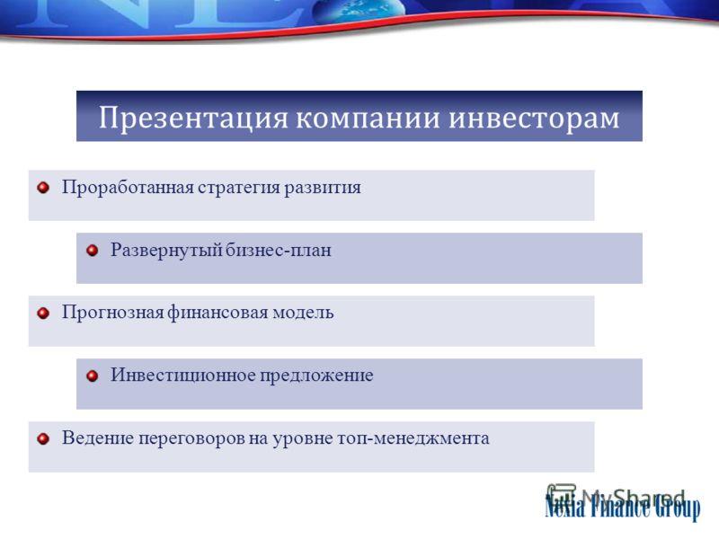 Презентация компании инвесторам Проработанная стратегия развития Развернутый бизнес-план Прогнозная финансовая модель Инвестиционное предложение Ведение переговоров на уровне топ-менеджмента