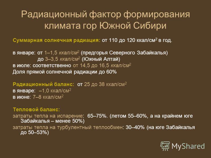 Радиационный фактор формирования климата гор Южной Сибири Суммарная солнечная радиация: от 110 до 120 ккал/см 2 в год. в январе: от 1–1,5 ккал/см 2 (предгорья Северного Забайкалья) до 3–3,5 ккал/см 2 (Южный Алтай) в июле: соответственно от 14,5 до 16