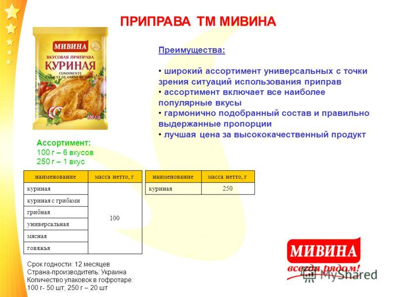 ПРИПРАВА ТМ МИВИНА Ассортимент: 100 г – 6 вкусов 250 г – 1 вкус наименованиемасса нетто, г куриная 100 куриная с грибами грибная универсальная мясная говяжья Срок годности: 12 месяцев Страна-производитель: Украина Количество упаковок в гофротаре: 100
