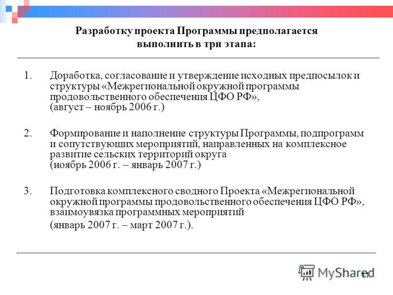 11 Разработку проекта Программы предполагается выполнить в три этапа: 1.Доработка, согласование и утверждение исходных предпосылок и структуры «Межрегиональной окружной программы продовольственного обеспечения ЦФО РФ», (август – ноябрь 2006 г.) 2.Фор