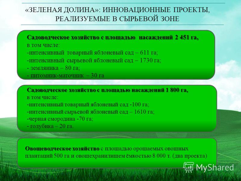 «ЗЕЛЕНАЯ ДОЛИНА»: ИННОВАЦИОННЫЕ ПРОЕКТЫ, РЕАЛИЗУЕМЫЕ В СЫРЬЕВОЙ ЗОНЕ Садоводческое хозяйство с площадью насаждений 2 451 га, в том числе: -интенсивный товарный яблоневый сад – 611 га; -интенсивный сырьевой яблоневый сад – 1730 га; - земляника – 80 га