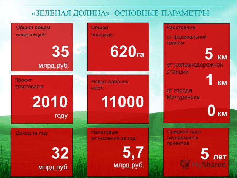 «ЗЕЛЕНАЯ ДОЛИНА»: ОСНОВНЫЕ ПАРАМЕТРЫ Общий объем инвестиций: 35 млрд.руб. Проект стартовал в 2010 году Доход за год: 32 млрд.руб. Налоговые отчисления за год: 5,7 млрд.руб. Общая площадь: 620 га Новых рабочих мест: 11000 Средний срок окупаемости прое