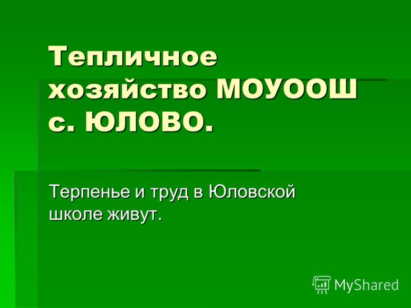 Тепличное хозяйство МОУООШ с. ЮЛОВО. Терпенье и труд в Юловской школе живут.