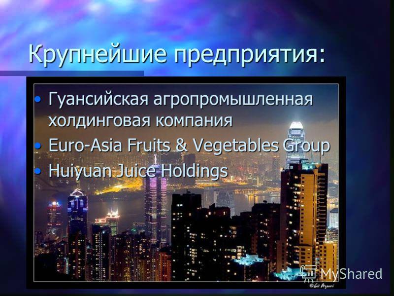 Крупнейшие предприятия: Гуансийская агропромышленная холдинговая компанияГуансийская агропромышленная холдинговая компания Euro-Asia Fruits & Vegetables GroupEuro-Asia Fruits & Vegetables Group Huiyuan Juice HoldingsHuiyuan Juice Holdings