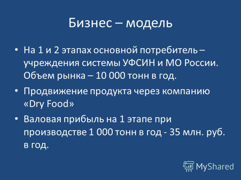 Бизнес – модель На 1 и 2 этапах основной потребитель – учреждения системы УФСИН и МО России. Объем рынка – 10 000 тонн в год. Продвижение продукта через компанию «Dry Food» Валовая прибыль на 1 этапе при производстве 1 000 тонн в год - 35 млн. руб. в
