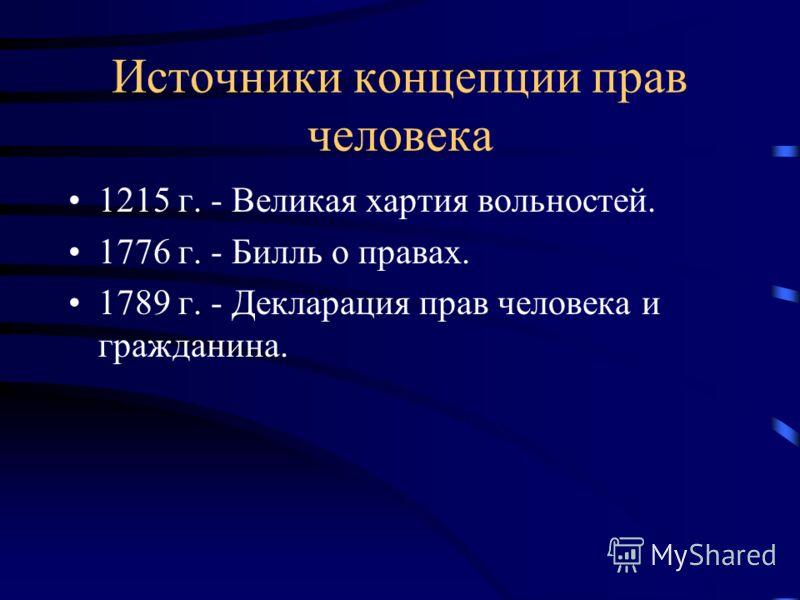 Источники концепции прав человека 1215 г. - Великая хартия вольностей. 1776 г. - Билль о правах. 1789 г. - Декларация прав человека и гражданина.