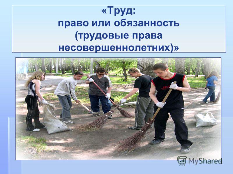 1 «Труд: право или обязанность (трудовые права несовершеннолетних)»
