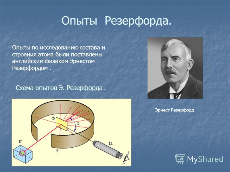 Опыты Резерфорда. Опыты по исследованию состава и строения атома были поставлены английским физиком Эрнестом Резерфордом. Эрнест Резерфорд Схема опытов Э. Резерфорда.