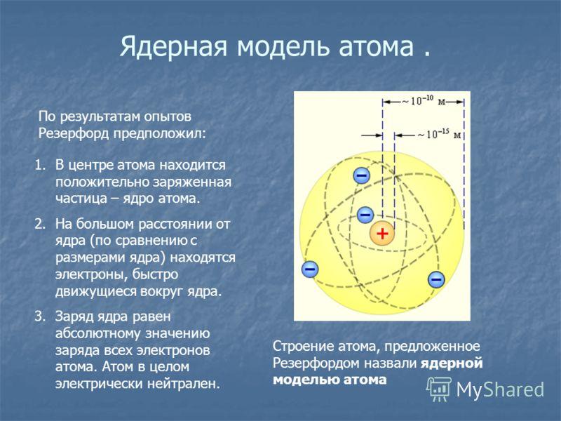 Ядерная модель атома. По результатам опытов Резерфорд предположил: 1.В центре атома находится положительно заряженная частица – ядро атома. 2.На большом расстоянии от ядра (по сравнению с размерами ядра) находятся электроны, быстро движущиеся вокруг