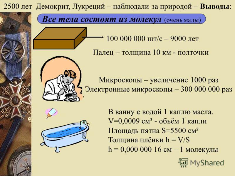 2500 лет Демокрит, Лукреций – наблюдали за природой – Выводы: Все тела состоят из молекул (очень малы) 100 000 000 шт/с – 9000 лет Палец – толщина 10 км - полточки Микроскопы – увеличение 1000 раз Электронные микроскопы – 300 000 000 раз В ванну с во