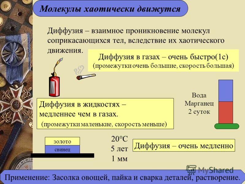 Молекулы хаотически движутся Диффузия – взаимное проникновение молекул соприкасающихся тел, вследствие их хаотического движения. Диффузия в газах – очень быстро(1с) (промежутки очень большие, скорость большая) Вода Марганец 2 суток Диффузия в жидкост