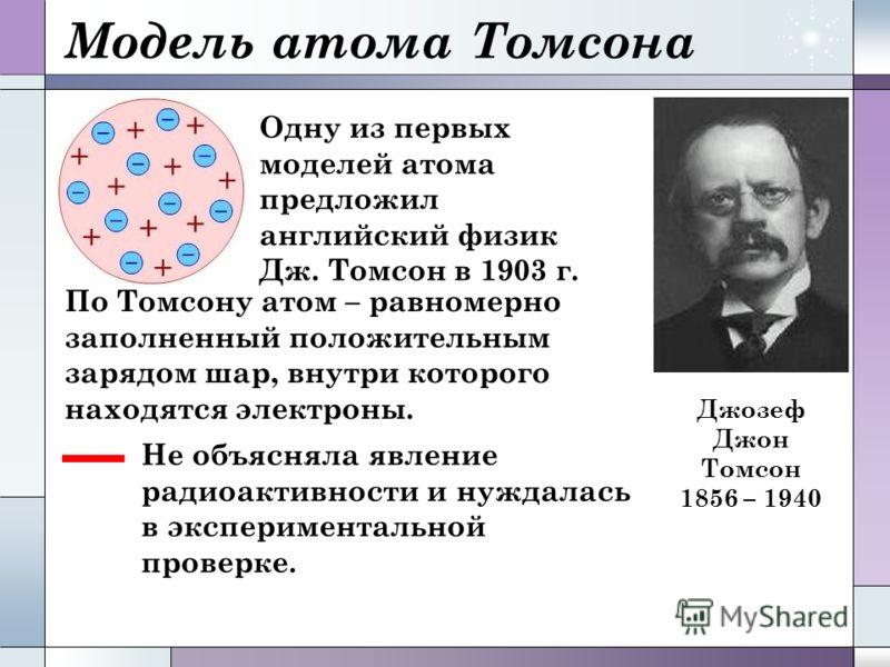 Модель атома Томсона Одну из первых моделей атома предложил английский физик Дж. Томсон в 1903 г. По Томсону атом – равномерно заполненный положительным зарядом шар, внутри которого находятся электроны. Не объясняла явление радиоактивности и нуждалас
