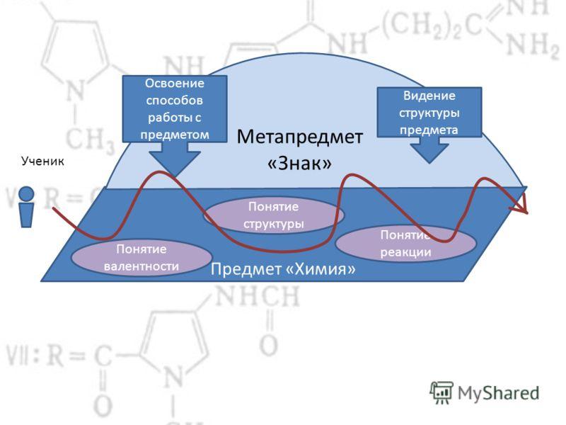 Предмет «Химия» Понятие валентности Понятие реакции Понятие структуры Освоение способов работы с предметом Видение структуры предмета Ученик Метапредмет «Знак»
