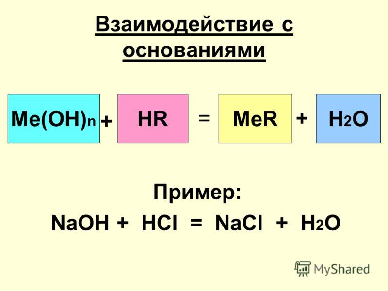 Взаимодействие с основаниями Пример: NaOH + HCl = NaCl + H 2 O Me(OH) n + HR = MeR + H2OH2O
