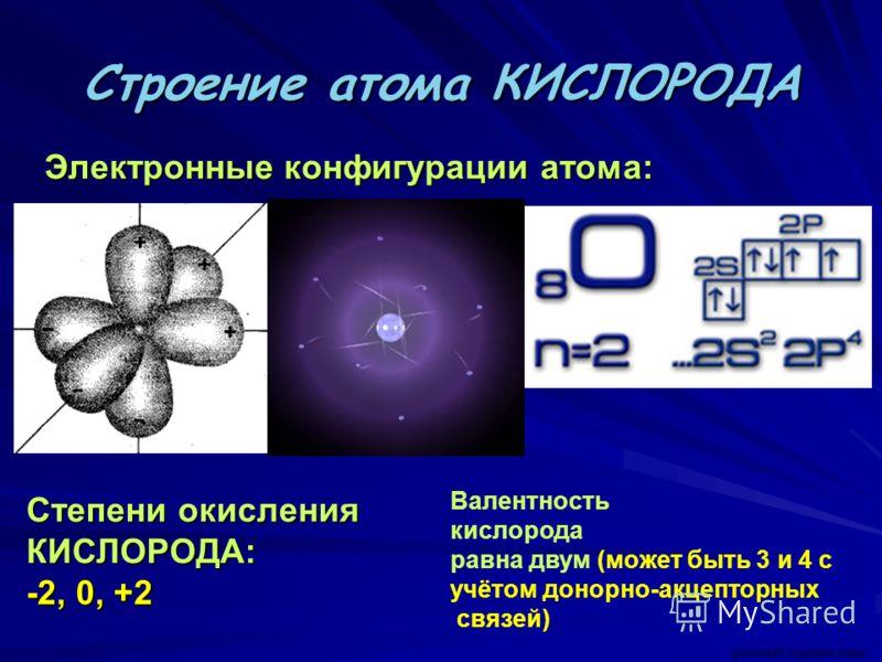 Строение атома КИСЛОРОДА Электронные конфигурации атома: Электронные конфигурации атома: Степени окисления КИСЛОРОДА: -2, 0, +2 Валентность кислорода равна двум (может быть 3 и 4 с учётом донорно-акцепторных связей) ВАСИЛИЙ КАДЕВИЧ 2008г.