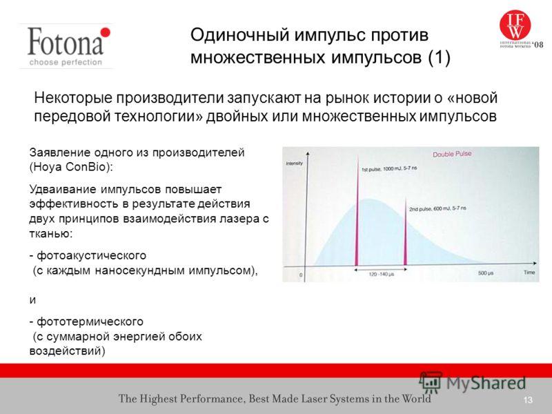 13 Заявление одного из производителей (Hoya ConBio): Удваивание импульсов повышает эффективность в результате действия двух принципов взаимодействия лазера с тканью: - фотоакустического (с каждым наносекундным импульсом), и - фототермического (с сумм