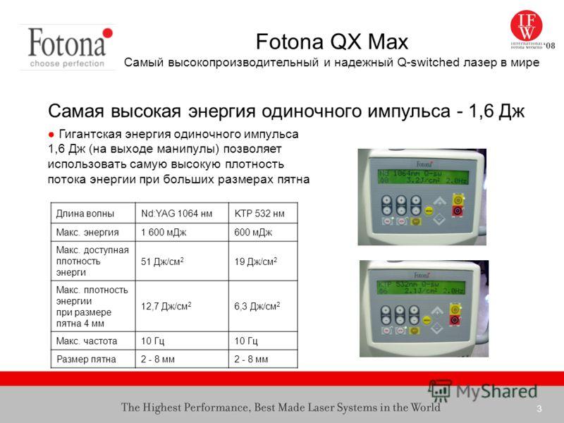 3 Fotona QX Max Самый высокопроизводительный и надежный Q-switched лазер в мире Самая высокая энергия одиночного импульса - 1,6 Дж Гигантская энергия одиночного импульса 1,6 Дж (на выходе манипулы) позволяет использовать самую высокую плотность поток
