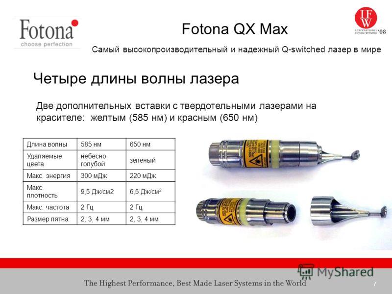 7 Fotona QX Max Самый высокопроизводительный и надежный Q-switched лазер в мире Четыре длины волны лазера Две дополнительных вставки с твердотельными лазерами на красителе: желтым (585 нм) и красным (650 нм) Длина волны585 нм650 нм Удаляемые цвета не
