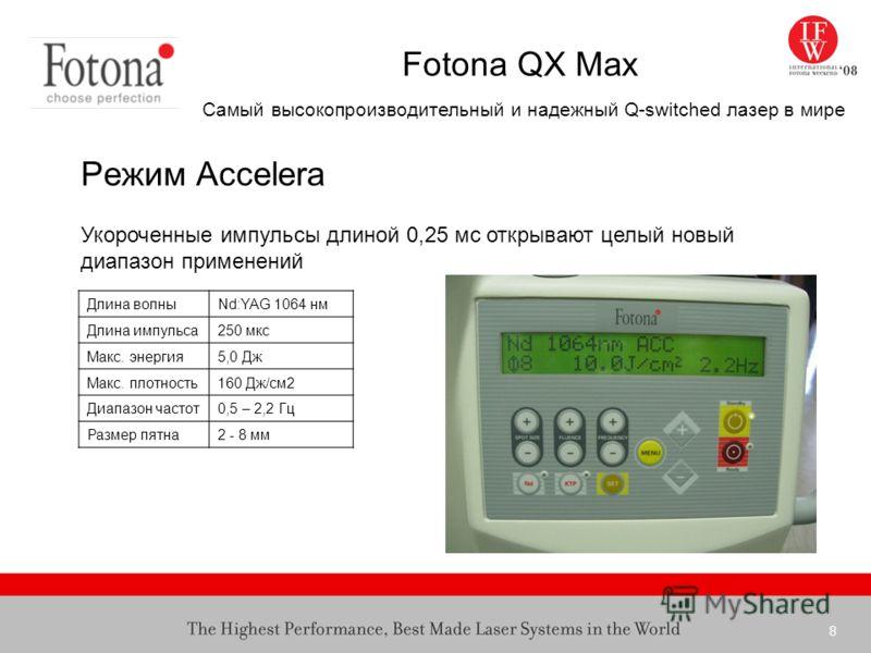 8 Fotona QX Max Самый высокопроизводительный и надежный Q-switched лазер в мире Режим Accelera Длина волныNd:YAG 1064 нм Длина импульса250 мкс Макс. энергия5,0 Дж Макс. плотность160 Дж/см2 Диапазон частот0,5 – 2,2 Гц Размер пятна2 - 8 мм Укороченные